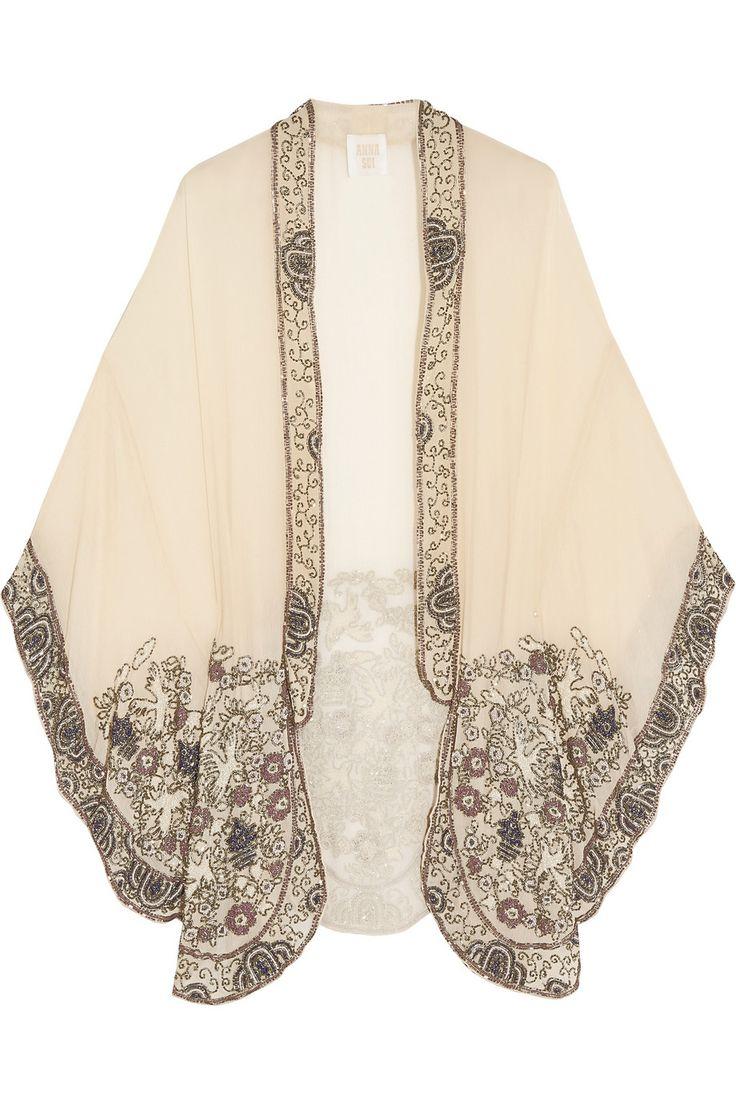 Anna Sui Embellished crinkled silk-chiffon kimono jacket NET-A-PORTER.COM