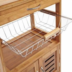 Wooden kitchen trolley with integrated rack, draw and cabinet.
