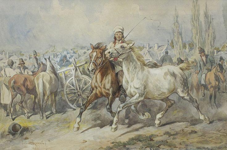 Juliusz Kossak | JARMARK NA KONIE W KRAKOWSKIEM, 1882 | akwarela, papier | 28 x 42 cm