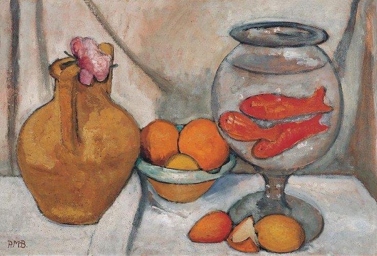 Paula Modersohn-Becker, Stilleben med guldfiskebowle, 1906.