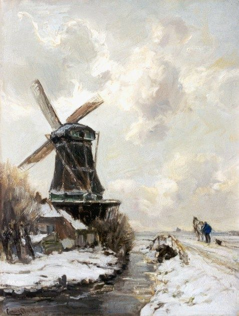 Lodewijk Franciscus Hendrik 'Louis' Apol (Den Haag 1850-1936) A snow-covered landscape with windmill - Dutch Art Gallery Simonis and Buunk Ede, Netherlands.