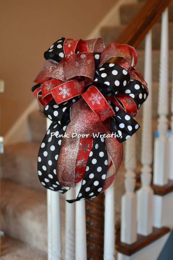 Marvelous Made To Order CHRISTMAS TREE TOPPER Bow Decor Red Black White Silver  Attachment (others Available) Multipurpose