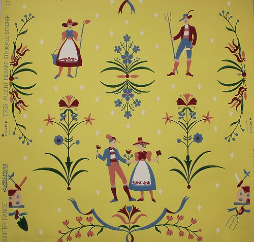 1940's Scandanavian Folk Art Design Vintage Wallpaper
