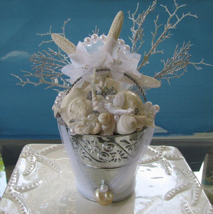 Beach Bucket White Seashells Wedding Cake Topper
