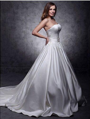 Бальное платье без бретелек часовня поезд атласная свадебное платье