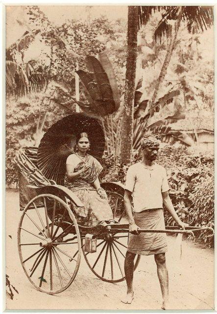 Man Pulling a Lady in a Rickshaw - c1880