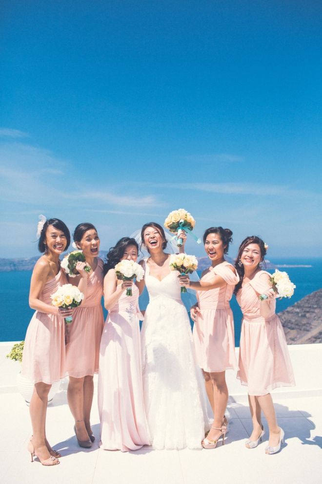Bride and Bridesmaids | Santorini Wedding | Design By Stella and Moscha - Exclusive Greek Island Weddings | Photo by Chris Spira | http://www.stellaandmoscha.com