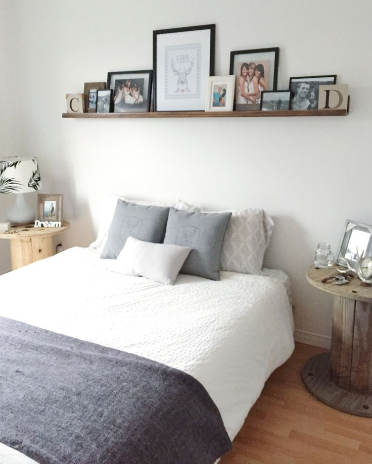 Master bedroom, all white and grey with some wood accents ! All wood pieces are handmade !!!