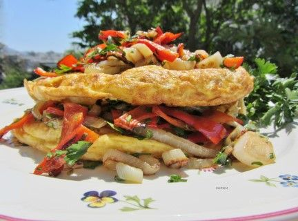 Potato Omelet with Onions and Red Peppers