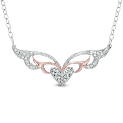 Zales: 1/10 CT. T.W. Diamond Masquerade-Style Heart Necklace in Two-Tone Sterling Silver
