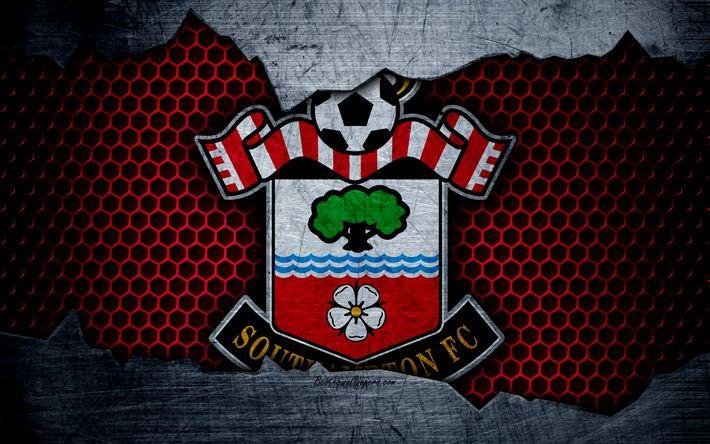 Herunterladen hintergrundbild southampton fc, 4k, fußball, premier league, england, wappen, logo, football club, southampton, uk, metall textur, grunge