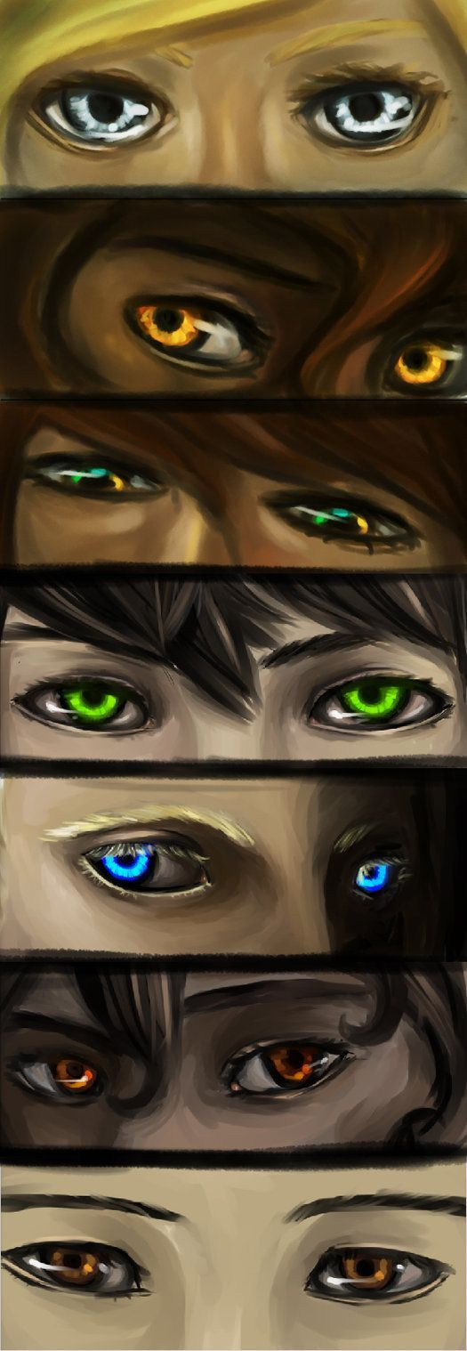 Annabeth, Hazel, Piper, Percy, Jason, Leo, and Frank's eyes. This is some of the best fan art I've seen