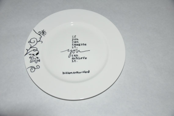 Meduim white porcelain plate with black flowers by Oodlesandbits, $10.00