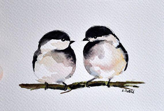 ORIGINAL peinture à l'aquarelle Romantic Couple par ArtCornerShop