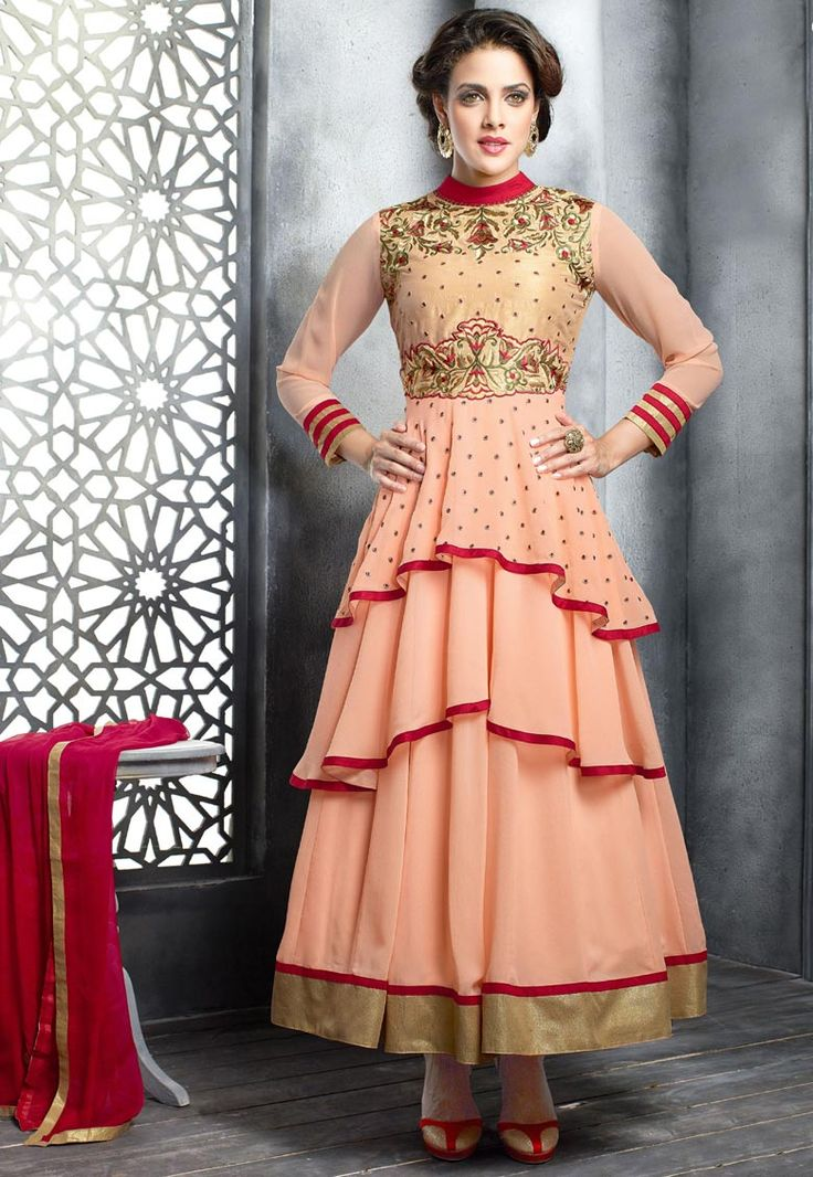 """#Adorable Peach!!  #Peach Georgette kameez designed with Zari,Resham Embroidery With Stone Work And Lace Border. Available with Peach Santoon Bottom with matching Chiffon Dupatta. This Semi Stitch kameez can be customized upto 42"""""""" inches.  INR 2060.40 Only With An Exclusive discount Shop Now@ http://tinyurl.com/q6xvx7b"""