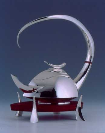 Great Horned Teapot Contemporary Sterling silver tea pot by Michael & Maureen Banner - Silversmiths