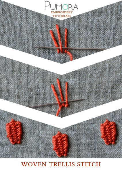 Pumora's embroidery stitch-lexicon: woven treills stitch
