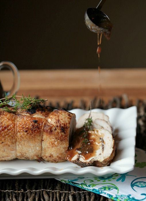 Turkey Roulade with Mushroom Stuffing and Blueberry Thyme Gravy - Your guests will love this savory and delicious recipe that's perfect for fall.