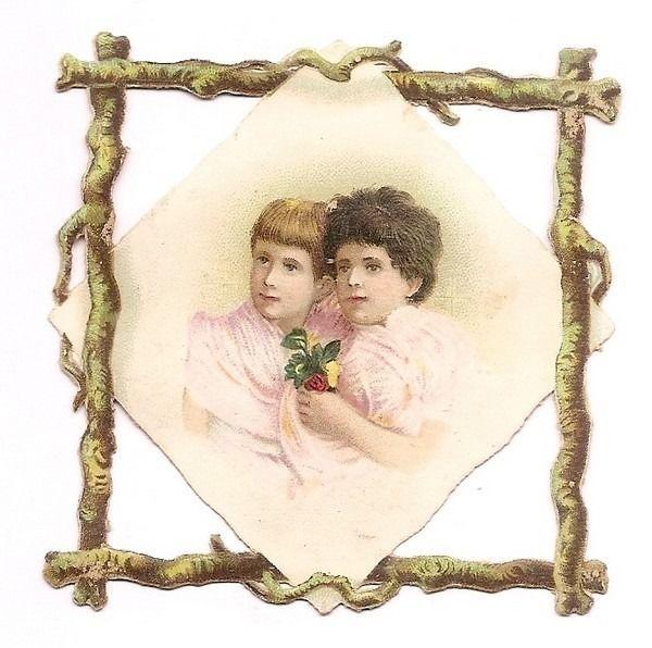 Les Deux  Enfants  - - Buste Fleurs Rose  - - Chromo Decoupi  - Victorian Scrap