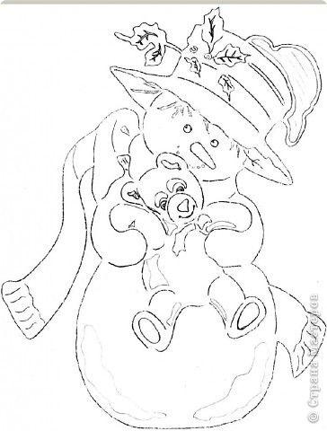 Картина панно рисунок Новый год Вырезание Снеговик с мишкой Бумага фото 3