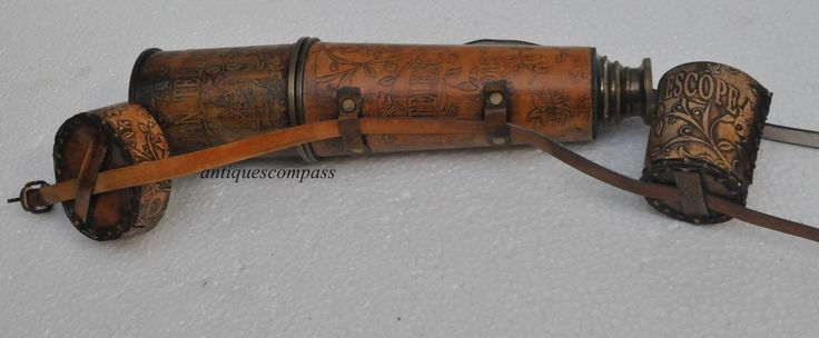 Ship Captain 32'' Antique Cap Belt brass Telescope With Spy Glass & Leather Case