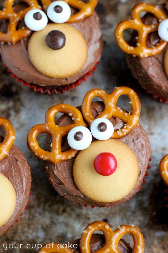 Reindeer Cupcakes Recipe, Cake Mix, Chocolate, Chocolate Cupcakes, Christmas, Cupcakes, Devil's Food Cake Mix, Kid Friendly Cupcakes, Baking