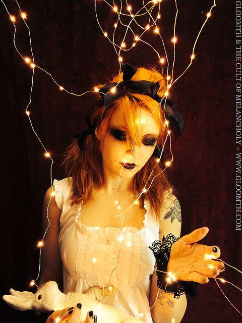 Skeleton Valentine | Flickr - Photo Sharing! Haunting lights shimmering, dark eye makeup.