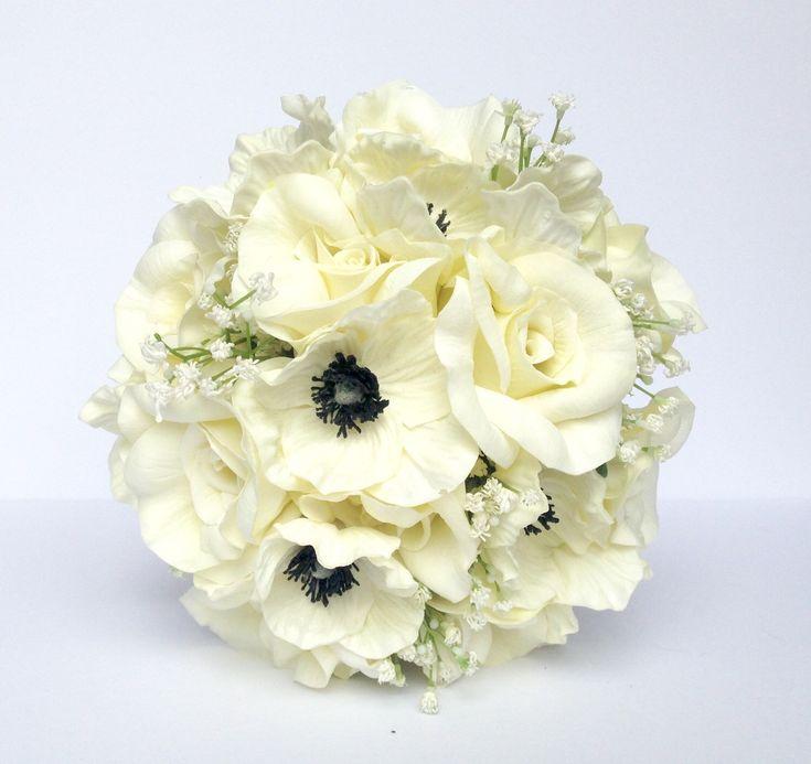 White Anemone Wedding Bouquet- Black and White Rose and Anemone Bouquet- Real to Touch Black and Ivory Anemone and Rose Wedding Bouquet by AdoredOccasions on Etsy https://www.etsy.com/listing/233767292/white-anemone-wedding-bouquet-black-and