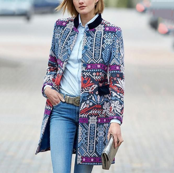 Vintage Women Long Sleeve Floral Casual Blazer Suit Cardigan Jacket Coat Outwear