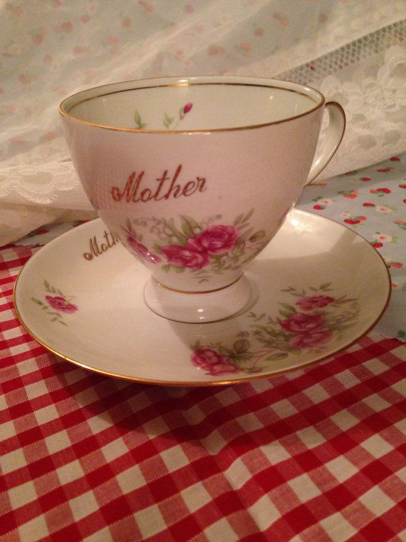 Mother teacup and saucer set  on Etsy, £9.50 Vintage shabby chic gift