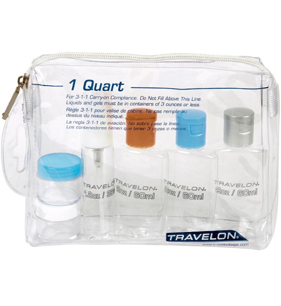 TSA Travel Bottles Kit with Travel Bottle Bag is a great product for all of your carry-on toiletries. It includes four bottles two jars plus a zipper bag
