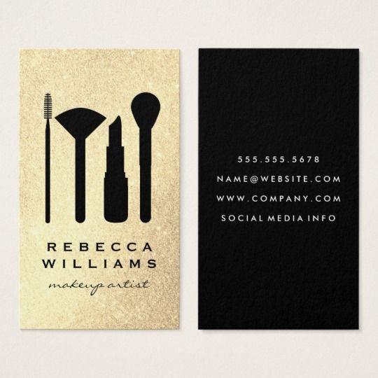 Elegant faux gold glitter makeup set business card pinterest elegant faux gold glitter makeup set business card reheart Gallery