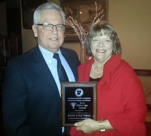 Ray & Kristie, the owners of #lookoutpoint, won the Silver Cup from the #arkansas Hospitality Association, in honor of their outstanding efforts in tourism for the Hot Springs area.