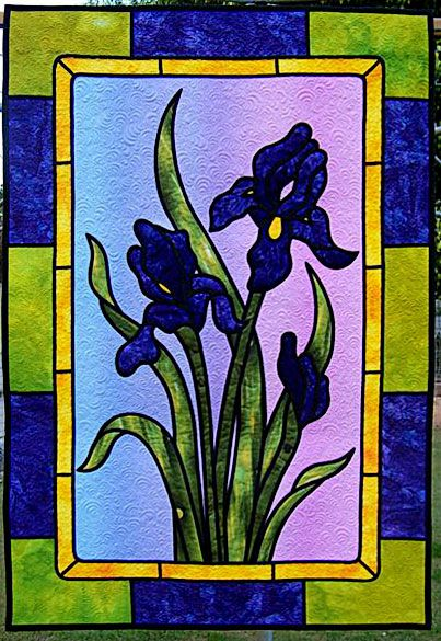Iris: Iris Stained, Stained Glasses Panels, Glasses Art, Irises Quilts, Glasses Irises, Stainglass Image, Stunning Stained Glasses, Iris Quilts, Art Glasses