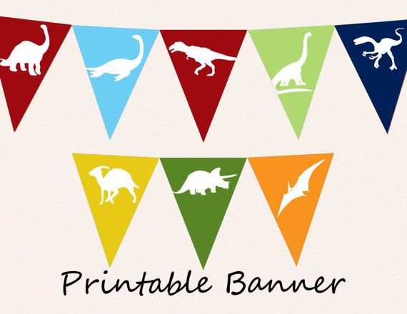 Printable Banner - Dinosaur Pennants DIY Bunting Flags for Party or Room Decor - Instant Download - T-Rex, Pterodactyl on Etsy, $5.00