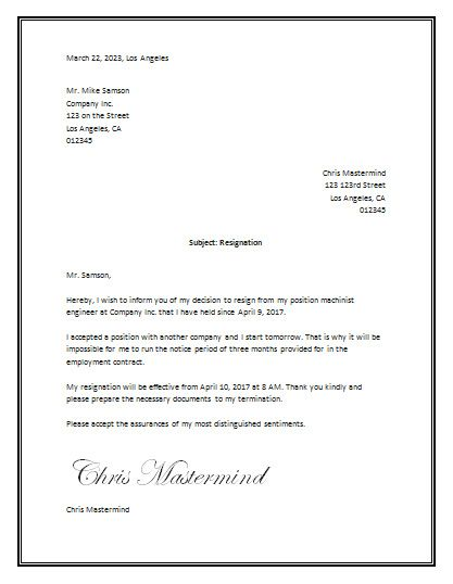 Resignation Letter Sample Official Resignation Letter Printable