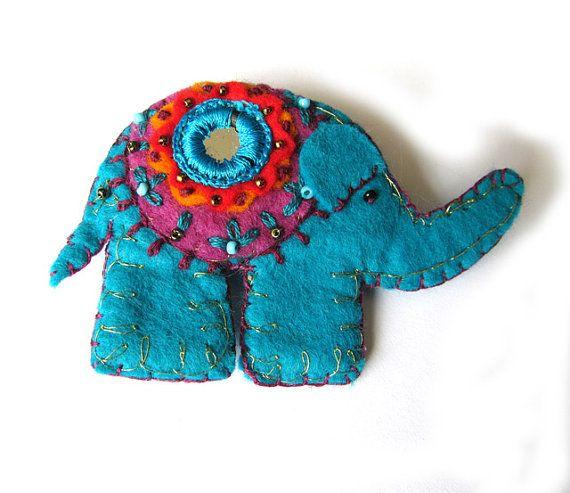 Indian inspired  Elephant Felt Brooch