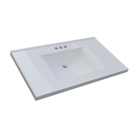 Style Selections Solid White Cultured Marble Integral Single Sink Bathroom Vanity Top Common X Actual