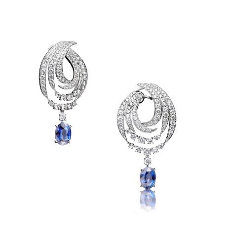 18K White Gold set with Diamonds and Sapphires