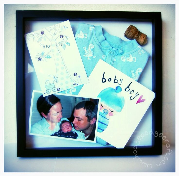 How to make a baby keepsake shadowbox (www.hodgepodgecraft.com, baby shower, new sibling, Mothers Day, Fathers Day, gift, tutorial)