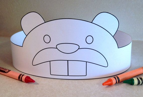 Beaver Paper Crown COLOR YOUR OWN - Printable