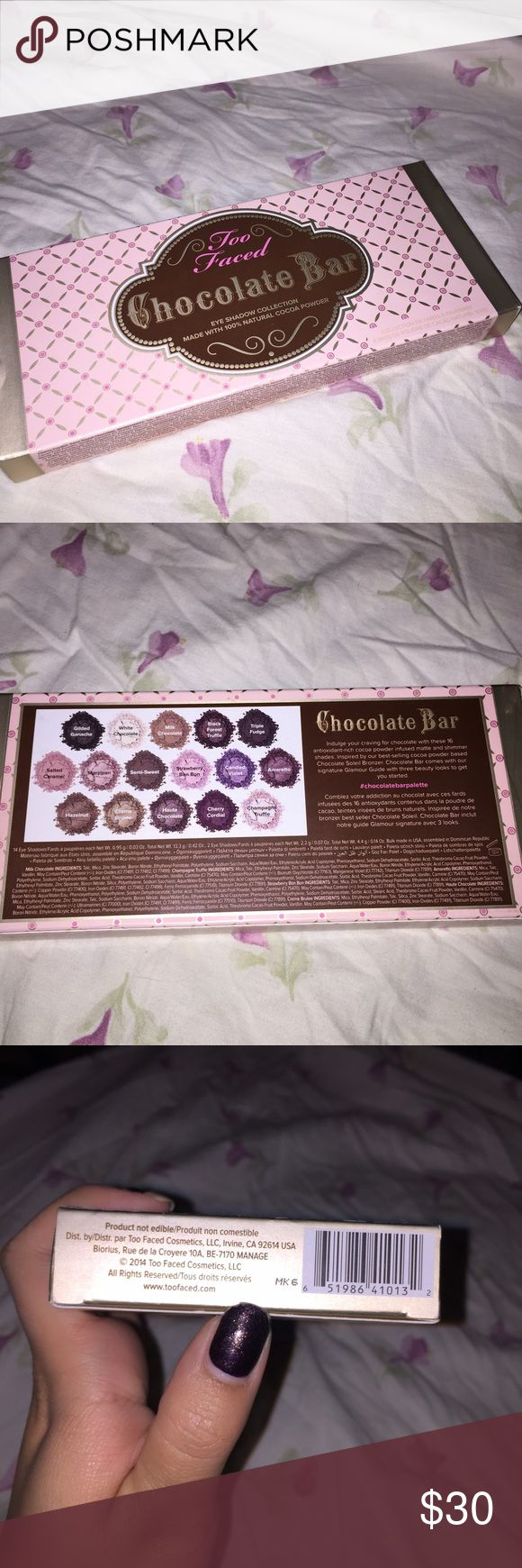 Too Faced Chocolate Bar Too Faced Chocolate Bar. 100% authentic bought from Sephora. I bought this with my nonrefundable Sephora Christmas coupon. Just trying to get what I paid for. Never opened but I understand there are fakes out there so if you need any additional photos let me know I'll be happy to do it. Too Faced Makeup Eyeshadow