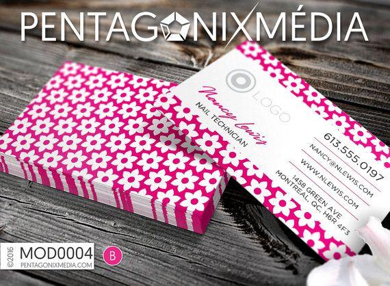 MOD0004   Cartes d'affaires / Cartes de visite avec motif de fleurs   Pentagonixmedia.com
