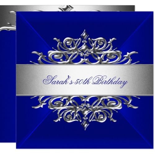 Royal Blue On Silver 50th Birthday Party Invitation Zazzle Com
