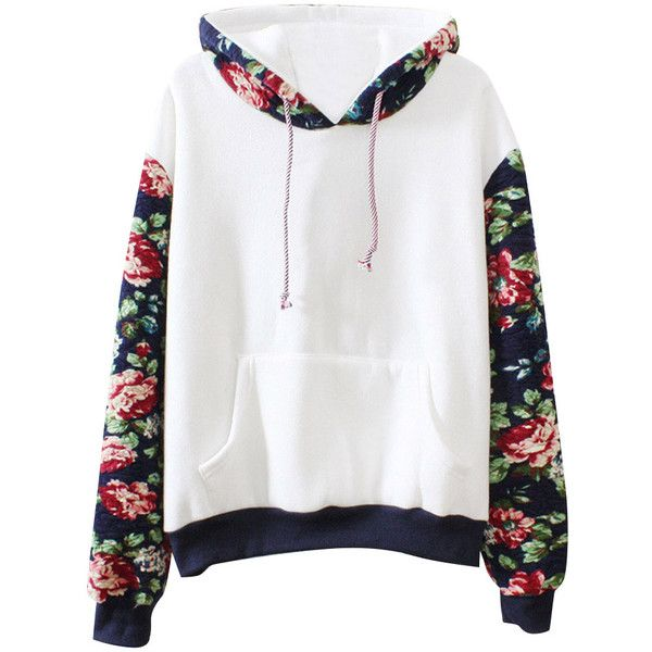 Trendy Floral Paneled Long Sleeve Hoodie (25 CAD) ❤ liked on Polyvore featuring tops, hoodies, shirts, sweaters, grey, long-sleeve shirt, long sleeve hoodie, shirt hoodies, hooded sweatshirt and floral long sleeve shirt
