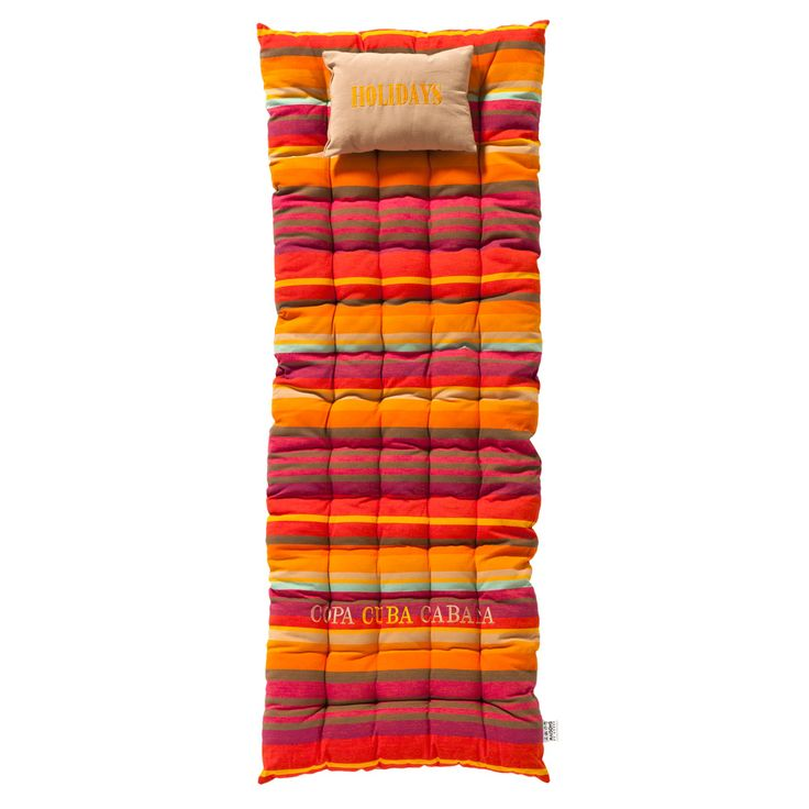 Colchón de rayas de algodón multicolor 70 x 160 cm COPACABANA
