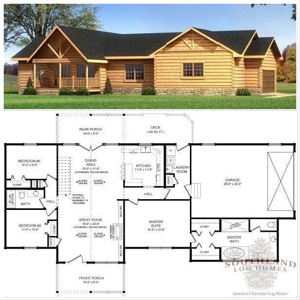 Happy Floorplanfriday The Madison From Southland Log Homes Is A One Level Ranch Style Log Home Floor Plan With T Log Homes Floor Plans Log Home Floor Plans