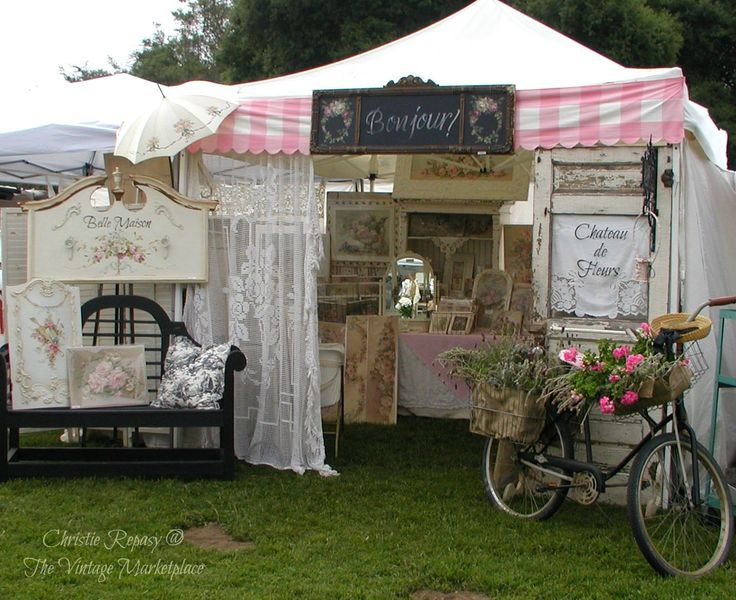 """French Flea at """"The Vintage Marketplace""""- cute fabric header and the bike :)"""