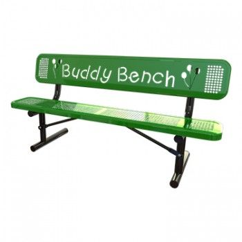 Punched Steel Buddy Bench | Plastic-Coated Steel |TheBenchFactory