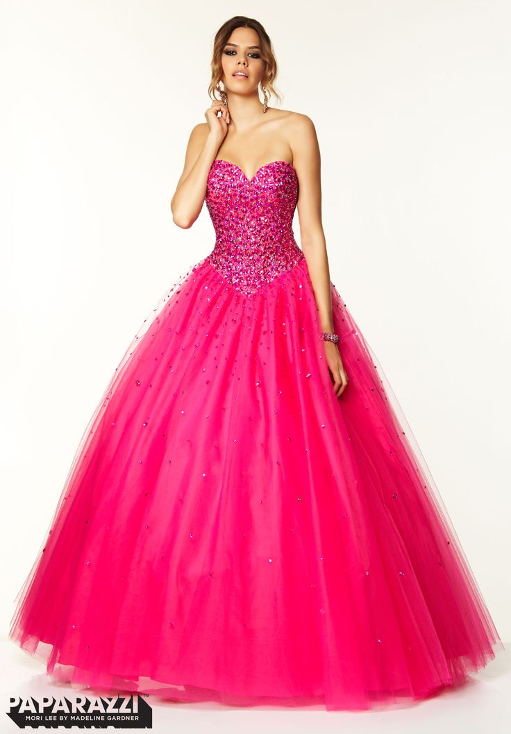 97042 Prom Dresses / Gowns Beaded Tulle Ballgown Hot Pink